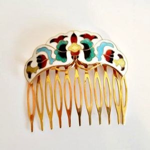 VINTAGE BUTTERFLY CLOISONNE HAIR COMB BOHO STYLE